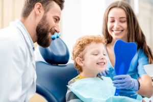 Young boy at family dentist.